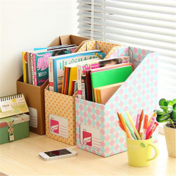 DIY Document Library Books Magazine Office Desktop Opbevaring Box