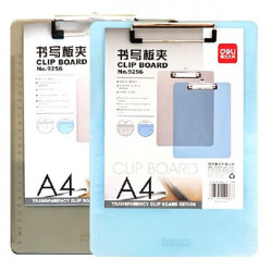 Deli 9256 Skrivning Clipboard A4 Transparent Writing Folder Tilfældig
