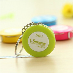Deli Mini Candy Color Leather Measuring Tape Key Chain Pull Rod 1.5 Meters