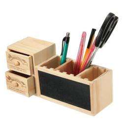 Doppelschub Tafel Holz Stifthalter Desktop Storage Box