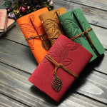 Embossed PU Leather Cover Leaf Pattern String Journal Blank Notebook Office & School Supplies