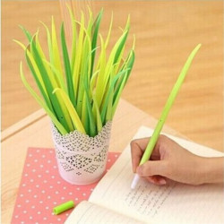 Forest Green Rubber Grass Leaf Design Sort Ink Kuglepen