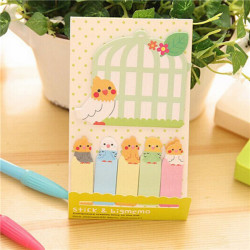 Lovely Parrot Cage Memo Sticker Post It Bookmark Index Sticky Notes