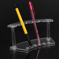 Transparent 6 Slot Plastic Pencil Pen Spoon Display Holder Stand Rack