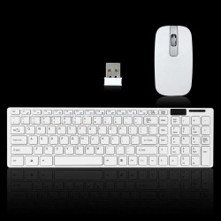 White 2.4G Optical Wireless Keyboard and Mouse Set Combo