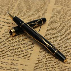 Wing Sung 052 Fountain Pen Small Nib Black & Golden Exquisite Pen