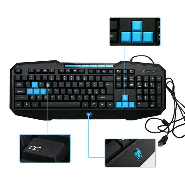 Bredband USB Optisk Gaming Tangentbord 110 Tangenter Vattentät Ergonomisk Design Tangentbord & Mus