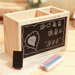 Wood Pen Holder Opbevaring Box med Sortboard Dobbelt Skuffe Two Lattice