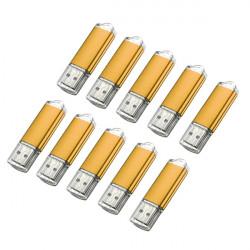 10 x 128MB USB 2.0 Flash Drive Candy Golden Memory Storage U Disk