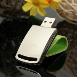 16GB Portable Mini Leather Metal Flash Drive Silver USB2.0 U Disk