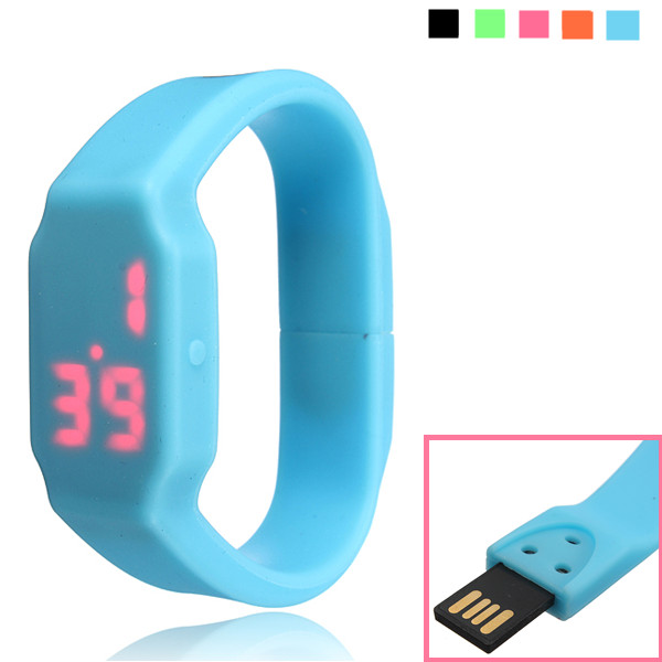 16G Waterproof LED Sport Watch Flash Drive Wristband USB Memory U Disk Drives & Storage
