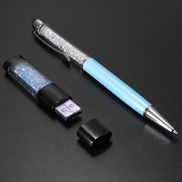 4G Crystal USB-minne och Pekskärm Pen Kulspetspenna Hårddiskar & Lagring