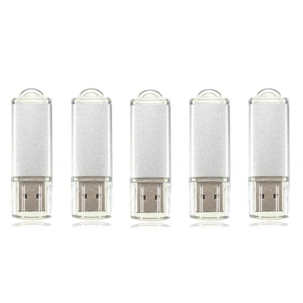 5 X 128MB USB 2.0 Hukommelse Candy Silver Hukommelse Harddiske & Opbevaring
