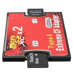 Dual Port Micro SD TF till Compact Flash CF Type I Kortläsare Adapter