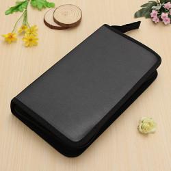 Leather 80 CD DVD Disc Album Storage Case Holder Organizer Bag Box