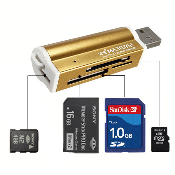 USB All in 1 Multi Memory Card Reader for Micro SD MMC SDHC TF M2 Drives & Storage