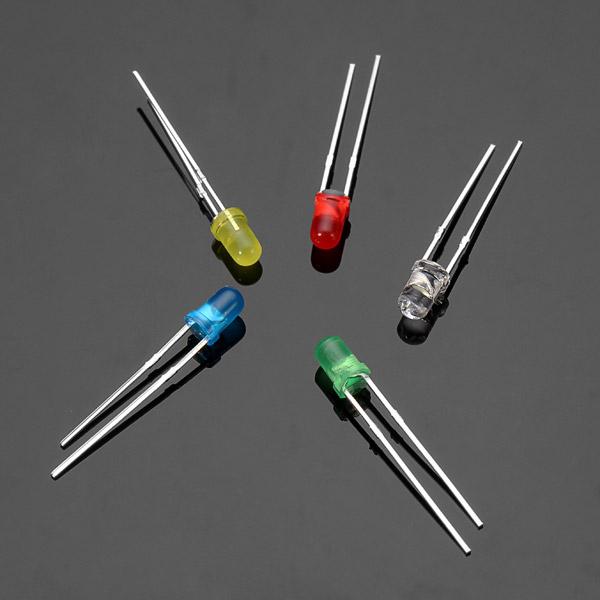100stk 20mA F3 3MM 5Colors Ultra Bright LED Diode Rød Grøn Blå Hvid Gul Arduino SCM & 3D-printer