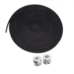 10M 2GT-6mm Rubber Åbning Belt + 2stk 5mm 2GT-20 Tænder Timing Wheel