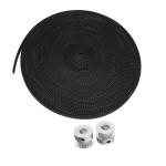 10M 2GT-6mm Gummi Beltrem + 2st 8mm 2GT-20 Tänder Timing Wheel Arduino SCM & 3D-skrivare