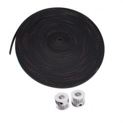 10M 2GT-6mm Rubber Opening Belt+2Pcs 8mm 2GT-20 Teeth Timing Wheel