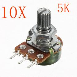 10st 200V 0.2 W 5K Ohm Potentiometer Single Linjär
