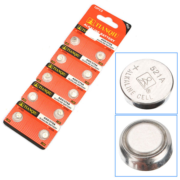 10pcs 10mAh AG0 379A LR521 SR521 Alkaline Watch Button Cell Battery Batteries & Chargers