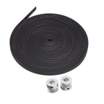 2Pcs 2GT 16 Teeth Timing Pulley Wheel+5M 2GT-6mm Rubber Opening Belt Arduino SCM & 3D Printer Acc