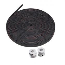 2Pcs 2GT 16 Teeth Timing Pulley Wheel+5M 2GT-6mm Rubber Opening Belt