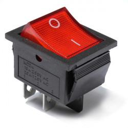 2stk Red Light 4 Pin DPST ON-OFF Rocker Båd Switch 13A / 250V 20A / 125V
