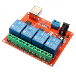 4 Channel 12V USB Control Free Drive Relay Module PC Controller