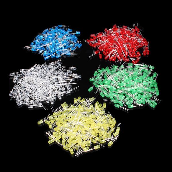 500st 5mm LED Diod Kit Blandade Färg Röd Grön Gul Blå Vit Arduino SCM & 3D-skrivare