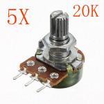 5st 200V 0.2W 20K Ohm Potentiometer Single Linjär Arduino SCM & 3D-skrivare
