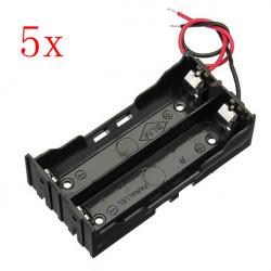 5st DIY 2 Slot Serie 18650 Batterifack med 2 Trådar