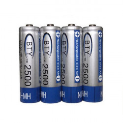 BTY 1.2V 2500mAh 4Pcs AA Ni-MH NiMH Rechargeable Battery