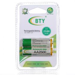 BTY AA 1.2V Ni-MH / 2B 2500mAh NiMH batteri med høj kapacitet