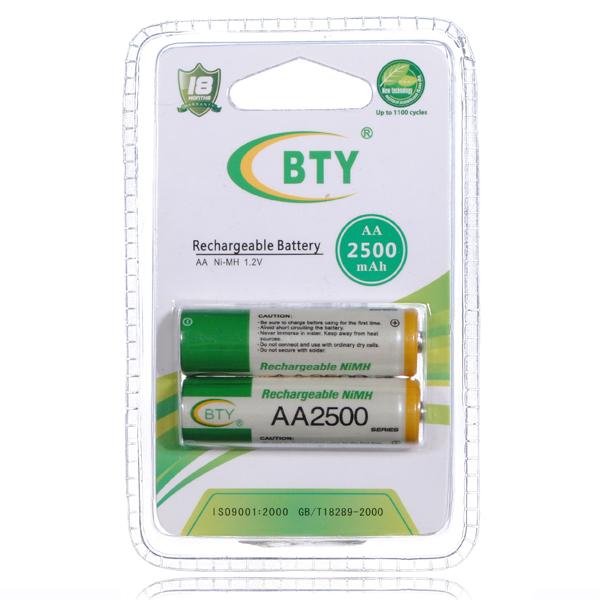 BTY AA 1.2V Ni-MH / 2B 2500mAh NiMH-batteri med Hög Kapacitet Batterier & Laddare