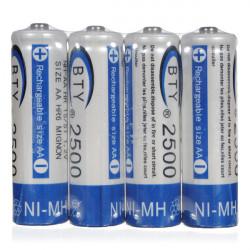 BTY AA 2500mAh Ni-MH NIMH batteri med høj kapacitet