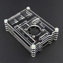 Sort med Transparent Akryl Shell Case med Vemtilator for Raspberry Pi 2 Model B & RPI B +