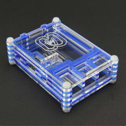 Blå med Transparent Akryl Skal Fodral för Raspberry Pi 2 Modell B & RPI B +