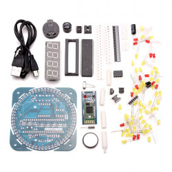 DIY AT89S52 Rotation LED Electronic Bluetooth Protocol 2.0 Control Clock Kit 51 SCM Learning Board