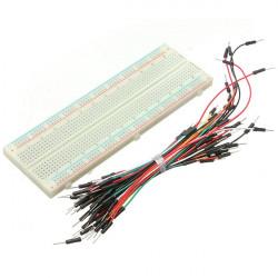 MB102 830 Tie Points Forlængerenhed PCB Breadboard Forsøgsbord + 65stk Jumper Kabels Wire
