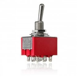 Mini Red 2 Position Latching Vippekontakt 9-PIN 3PDT 250V 2A 125V 5A ON-ON