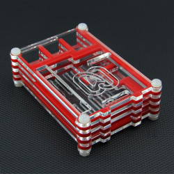 Beskyttende Rød med Transparent Akryl Shell Case for Raspberry Pi 2 Model B & RPI B +