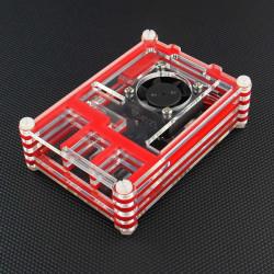 Röd med Transparent Akryl Plastfodral med Fläkt för Raspberry Pi 2 Modell B & RPI B +
