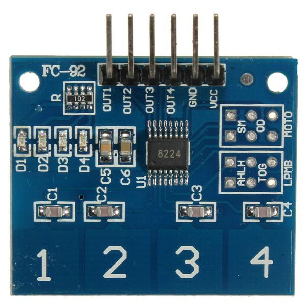 TTP224 4 Channel Digital Touch Sensor Button Switch Module For Arduino Arduino SCM & 3D Printer Acc