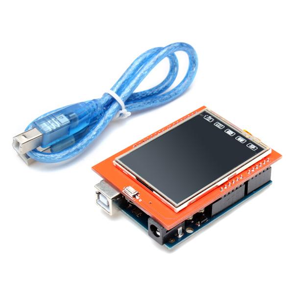 """UNO R3 ATMEGA328P Kort + 2.4"""" TFT LCD-pekskärm Modul för Arduino Arduino SCM & 3D-skrivare"""