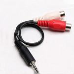 3.5mm Hane Audio Stereo till 2 RCA F Kabel Adapter Tv-spel Tillbehör