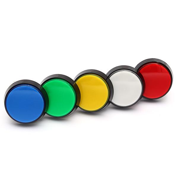 5 Färger LED-ljus 60mm Arcade Video Game Player Tryckknapp Tv-spel Tillbehör