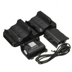 Dual USB Laddning Dock Kontrollers Laddare med 2st Laddningsbara Batterier för X One