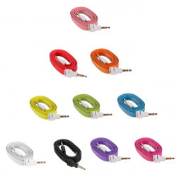 10 Colors 3.5mm Male Audio Stereo AUX Flat Noodle Cable For Phone IPod Mp3 PC